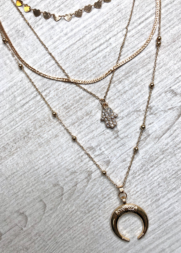 Hamsa Hand Layered Necklace