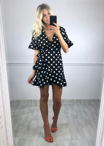 Kally Spot Print Wrap Dress