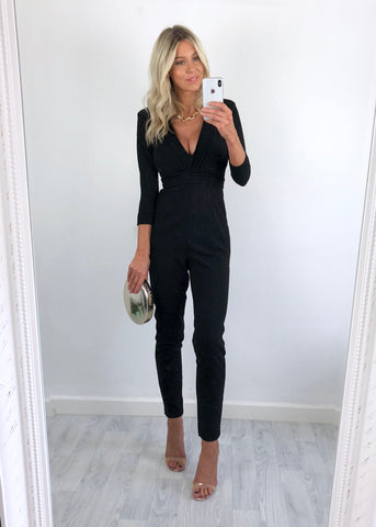 Leigh Long Sleeved Jumpsuit - Black