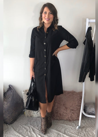 Luna Black Midi Dress