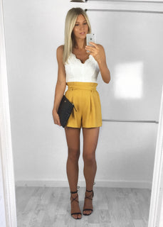 Polly High-Waist Tailored Shorts - Yellow