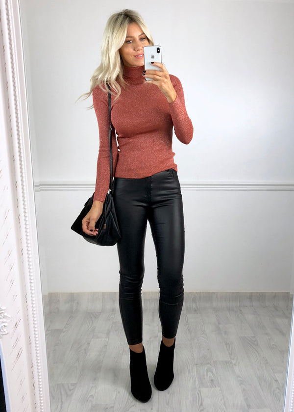 Rosa Sparkle Ribbed Roll-Neck Top - Rust