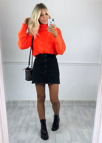 Kayla Chunky Ribbed Knit Jumper - Neon Orange