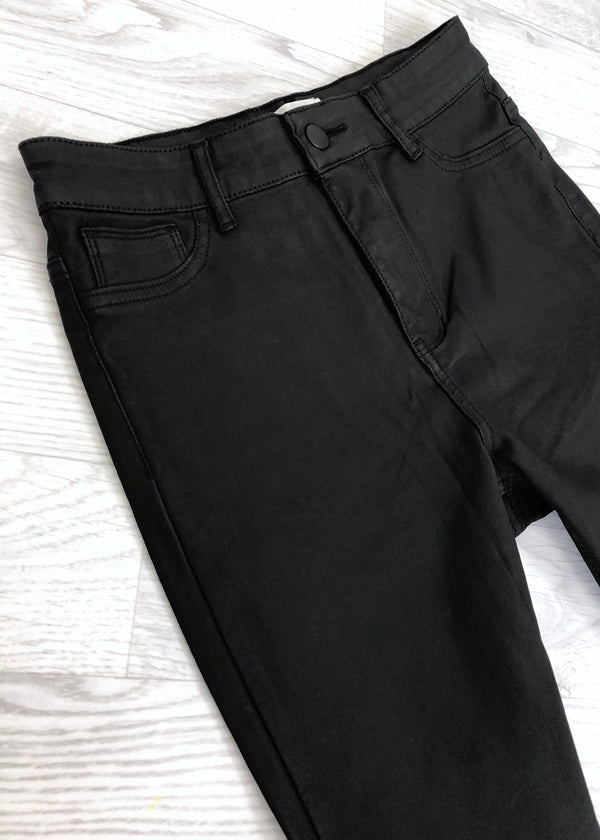 Urban Bliss - Alyssa High Waist Coated Black Jeans
