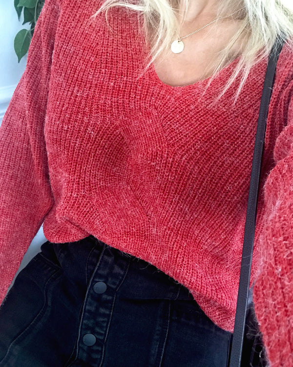 Enya Knitted V Neck Jumper - Red