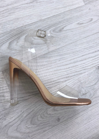 Pearl Clear Strap Heels - Rose Gold
