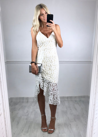 Penny Asymmetric Ruffle Hem Dress White Lace