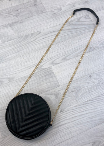 Quilted Round Tassel Bag - Black