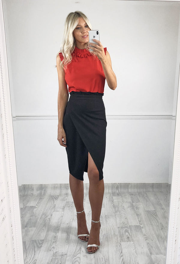 Lillie Pleat Waist Tulip Skirt - Black
