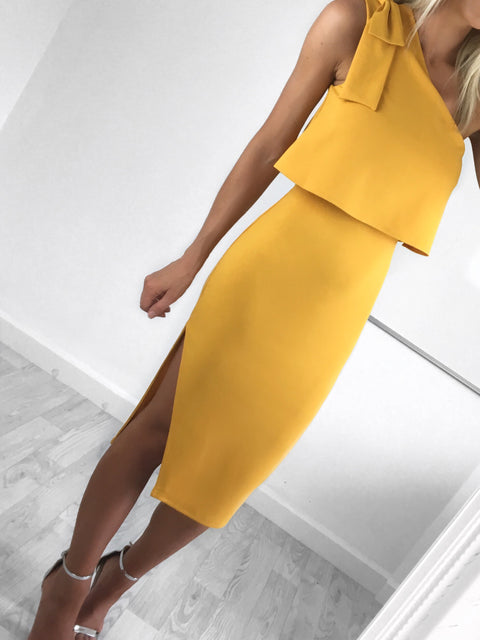 Robyn Asymmetric Bow Detail Midi Dress
