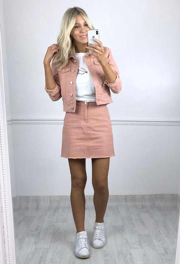 Miami Denim Skirt - Pink