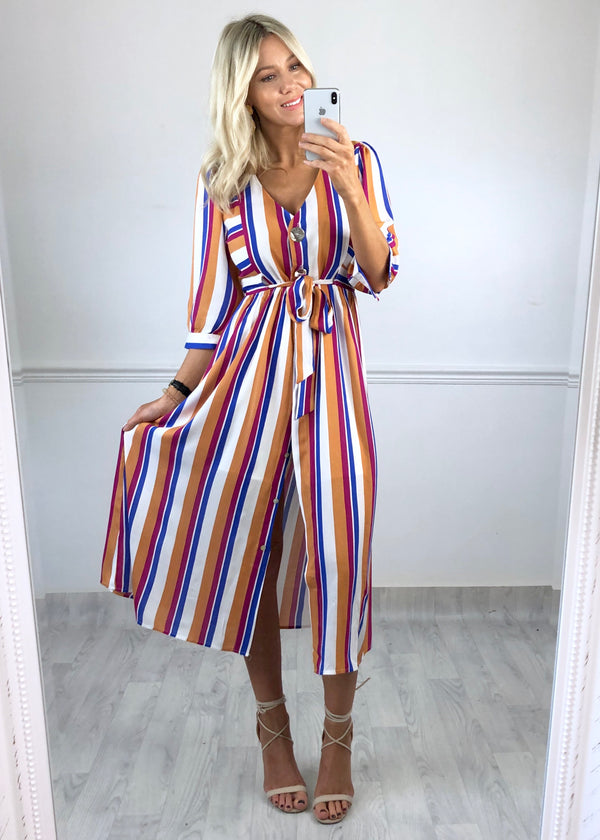 Phoebe Stripe Buttoned Dress