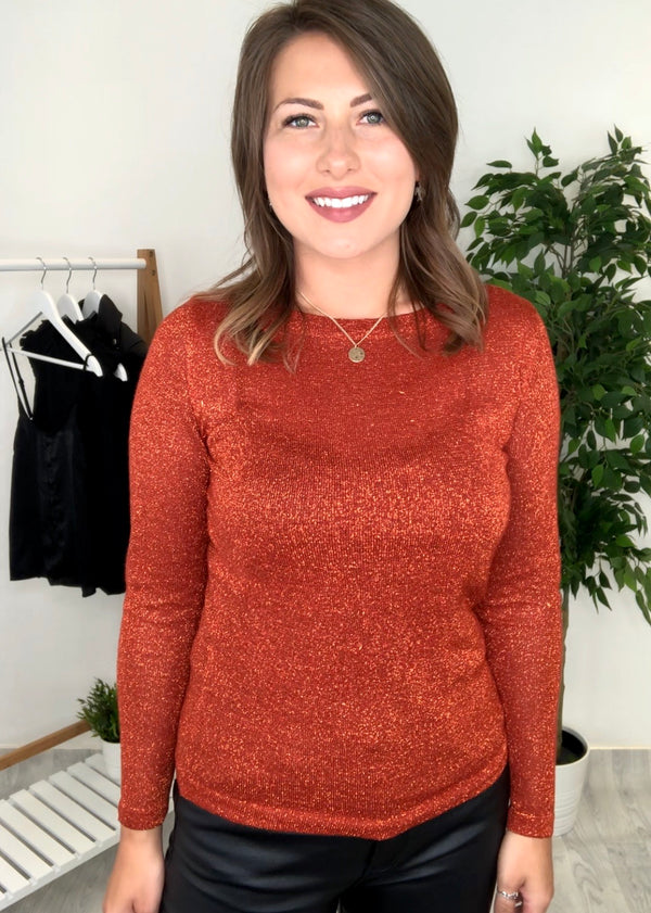 Presley Long Sleeve Top - Rust