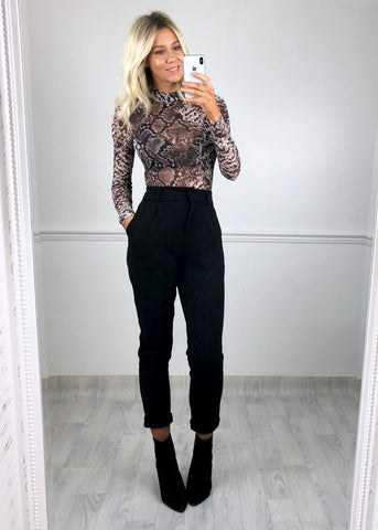 Margot Sheer Long Sleeved Bodysuit - Snake Print