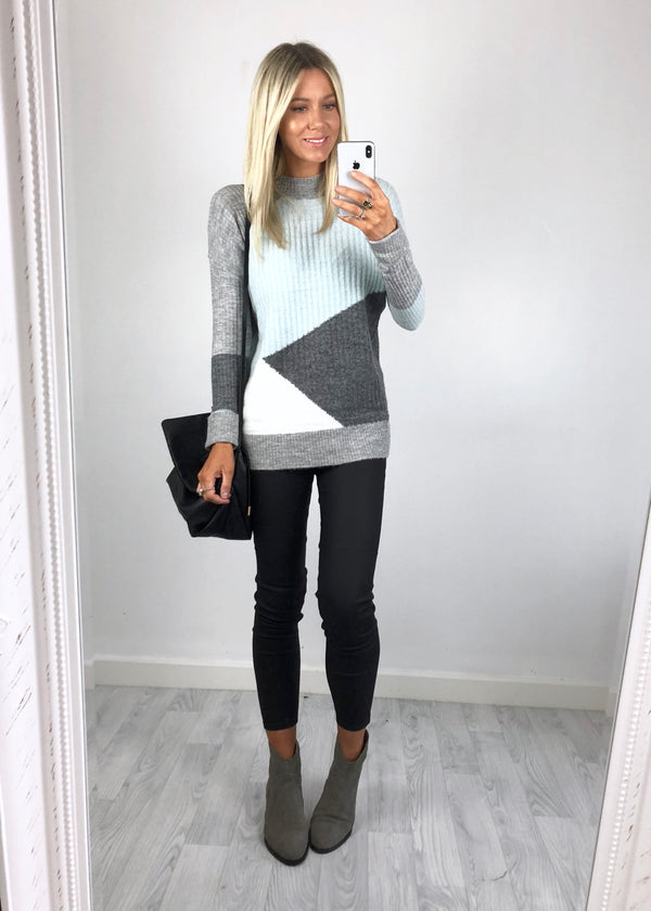 Urban Bliss - Gwen Longline Colour Block Jumper - Mint