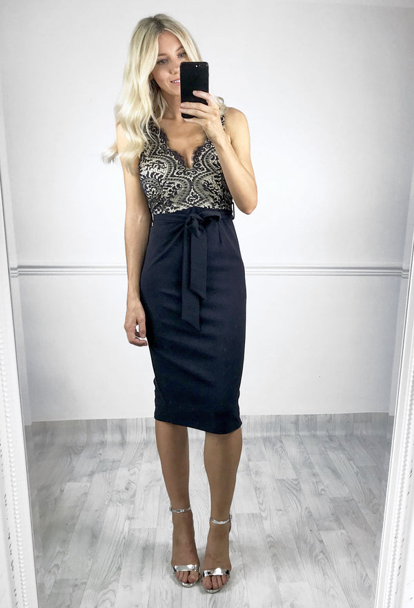 Jorgie Navy Lace Midi Dress