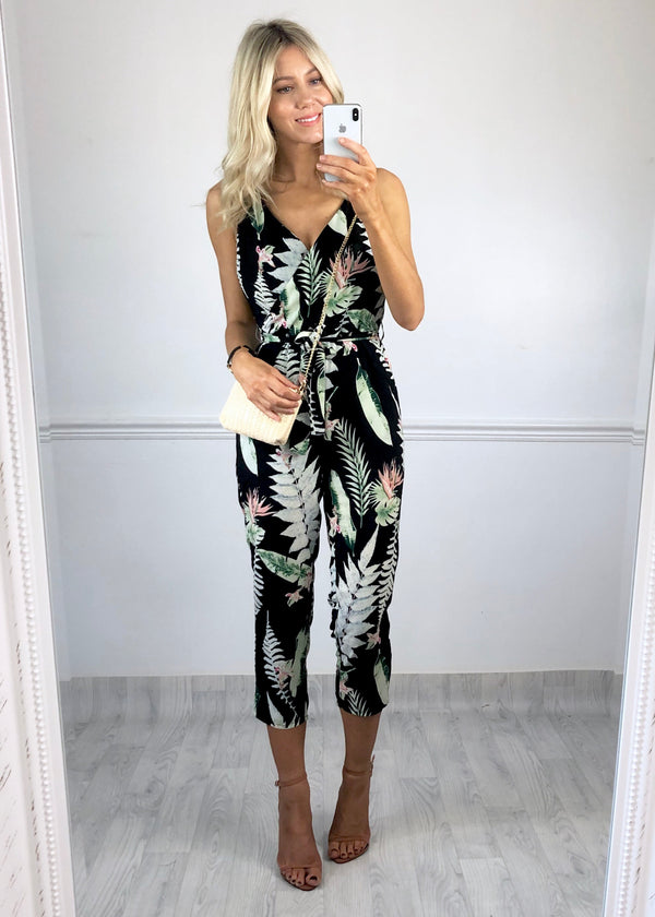 Saffron Jumpsuit - Black Leaf Print