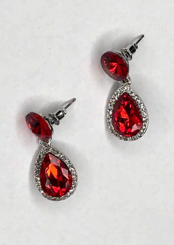 Stone and Diamante Drop Earring - Red