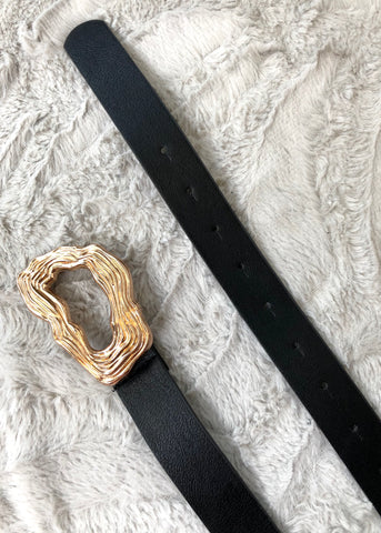 Hammered Abstract Gold Buckle Belt - Black
