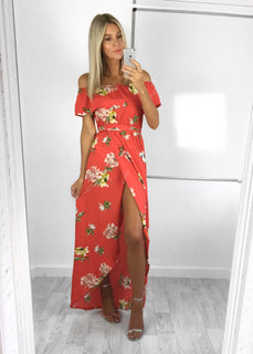 Suzie Ruffle Bardot Maxi Dress