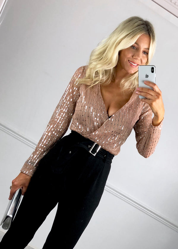 Courtney Mirrored Sequin Bodysuit - Nude/Pink