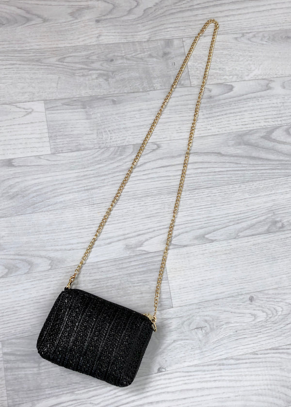 Mini Straw Bag - Black