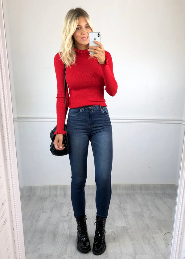 Ruby Ruffle Fine Knit Jumper - Red