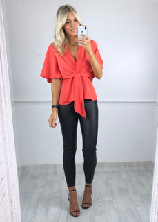 Hannah Flared Sleeve Top - Coral