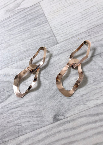 Hammered Abstract Earrings - Rose Gold