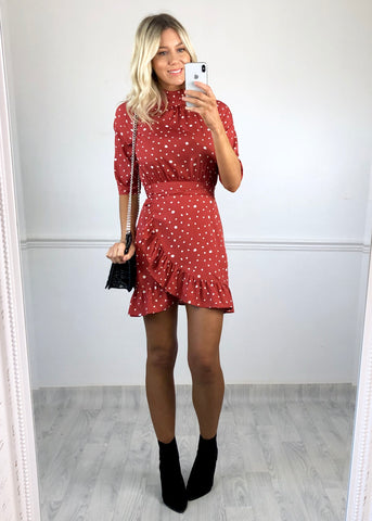 Orla Rust Polkadot High Neck Dress