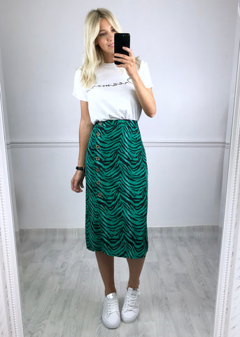 Kamara Zebra Print Button Down Skirt