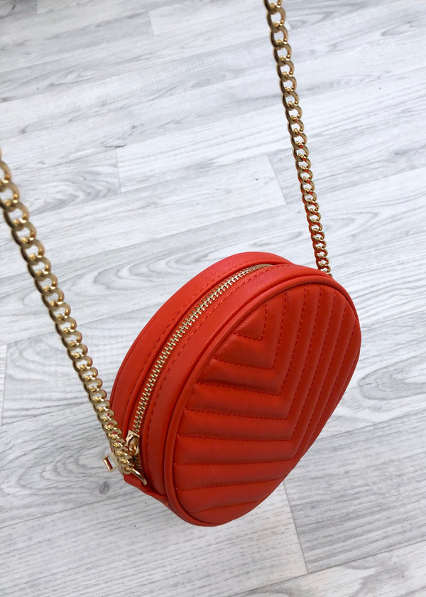 Round Quilted Bag - Orange