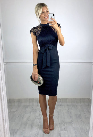 Adira Lace Shoulder Midi dress - Navy