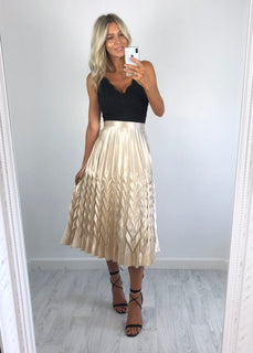 Bonnie Metallic Pleat Skirt - Gold