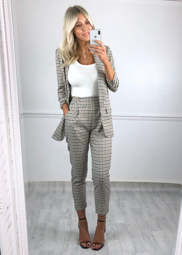 Kiki Check Trousers - Beige