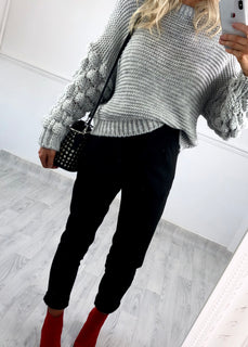 Fiona Bubble Sleeve Chunky Jumper - Grey