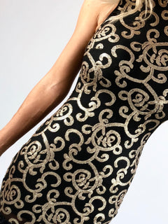 Gisele High-Neck Embellished Gatsby Dress