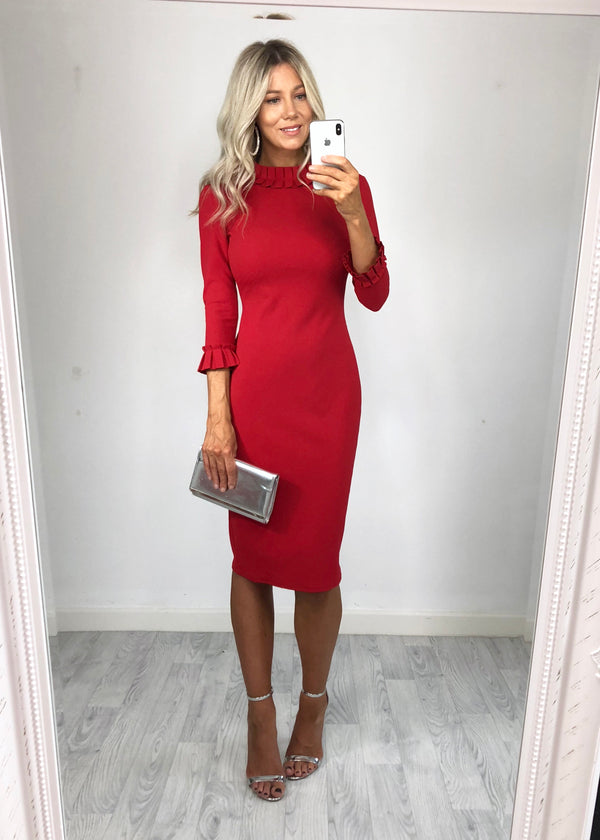 Carolina Long Sleeved Midi Dress - Red