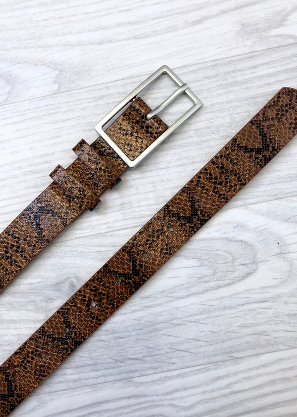Snake Print Belt - Brown