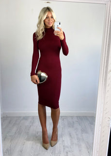 Erica Ribbed Midi Dress - Berry