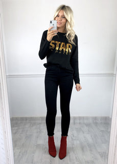 STAR Sequinned Jumper - Black