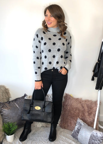 Josephine High Neck Polka Dot Jumper - Grey