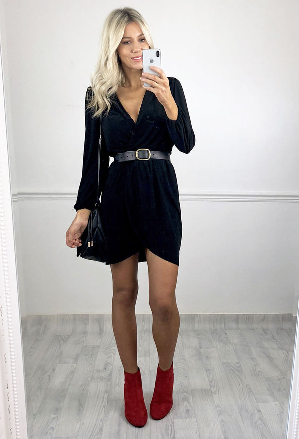 Libby Long Sleeved Wrap Dress - Black