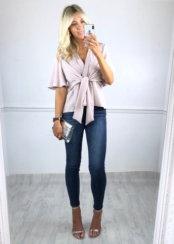 Hannah Flared Sleeve Top - Mauve