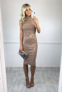 Milla High Neck Mirrored Midi Dress - Nude