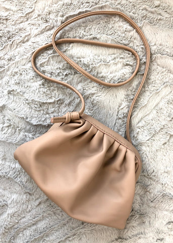 Trixie Small Soft Gathered Shoulder Bag - Nude