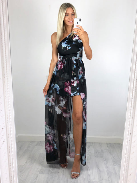 Lucia Overlay Maxi Dress - Black Floral