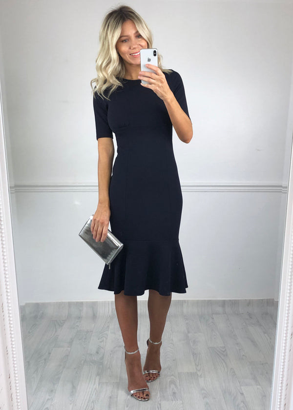 Carrie Frill Hem Midi Dress - Navy