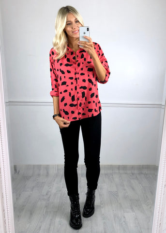 Laura Printed Oversized Shirt - Coral and Black
