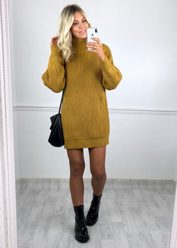 Andie Chunky Ribbed Knit Jumper Dress - Mustard